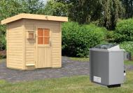 Karibu Gartensauna Pultdach Jorgen inkl. Ofen 9 kW mit integr. Steuerung