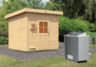Karibu Gartensauna Pultdach Kroge inkl. Ofen 9 kW mit integr. Steuerung