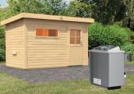 Karibu Gartensauna Pultdach Skrollan 1 mit Vorraum inkl. Ofen 9 kW mit integr. Steuerung
